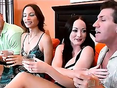 Lee's new wife wanted to surprise him for his birthday, so she decided to give him something that guy really wanted...his superlatively good friend's wife! These hot wives make a decision to swap spouses in hardcore swinger sex that begins with the sweethearts titillating their pussies on hu