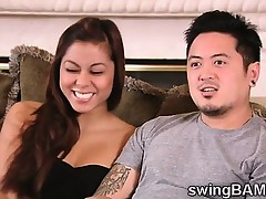 Concupiscent asian couple joins a XXX reality of swingers couples