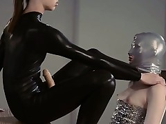 Luxury dong girl4girl in mask playing