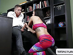 Bubble a-hole Keisha Grey doggystyled with yoga panties on