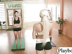 Two hot hotties yoga session with their busty coach