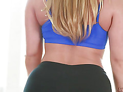 Breasty Aj acquires her face hole filled with jizz during yoga