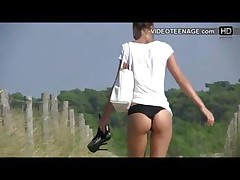 candid juvenile bikini arse at beach