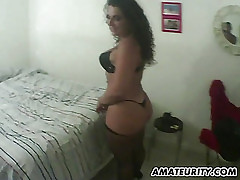 Breasty and corpulent amateur wife sucks and fucks