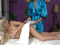 Hawt masseuse licking out pussy and can not get sufficiently