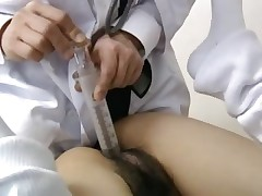 Bushy amateur student having massage