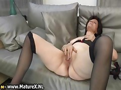 Mature housewife in hot stockings