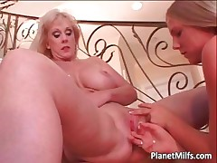 Old milf and  blond young lick every