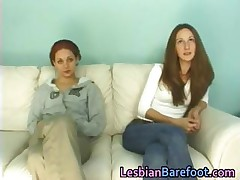 Lesbo Beauties Casting on the Couch