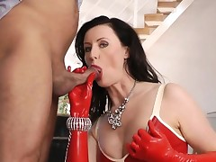 Latex mature brit sucking