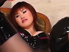 Japanese Slut Wearing Latex With A Serf