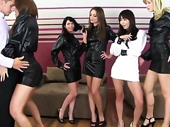 Glam latex babes exchange cum