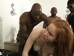 Big milk cans redhead floozy Kiera Wilde DP with black stud