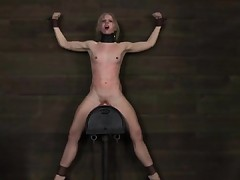 Sybian riding sub receives nipps punished