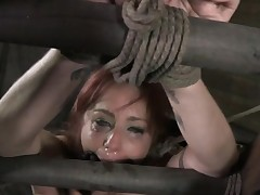 Nasty sub gagged and face hole fucked