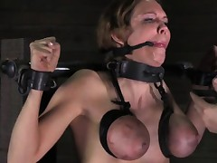 BDSM sub in stocks getting tits punished