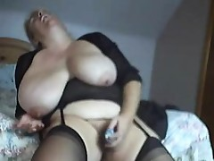 Granny with huge naturals toys in bedroom