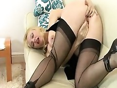 Busty Blonde Doxy Fingers Her Pussy