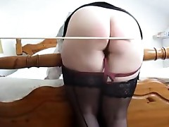 Flogging her butt before this babe masturbates for me