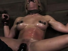 Restrained sub punished with bastinado