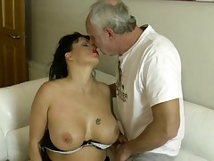Milf rims Ben Dovers butt and gags in advance of taking anal