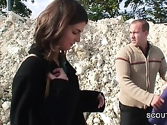 Young Czech Teen get outdoor gazoo fuck for money by 2 german