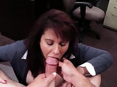 POV blowjob milf in sexy pawnshop cash deal