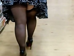Fat Woman In Nylons And Heels Shopping
