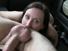 Horny wife pussy pumped and facialed by fake taxi driver