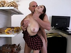 Schoolgirl Gags On Cock And Bows Over For More
