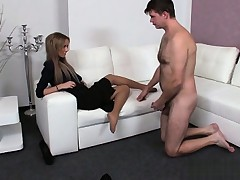 Cute pornstar first handjob