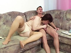 German Mother seduce Step-Son to fuck her when home alone