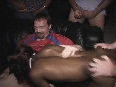 Sporty Darksome Chick Ravaged in Porno Theater!