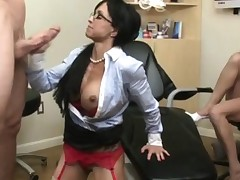 Dressed milfs facialed in cfnm action