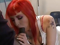 Youthful gothic wench engulfing one massive darksome cock