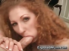 Hairy milf fills her mouth with stiff