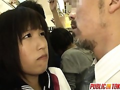 Juvenile Schoolgirl Gives An Older Guy A Handjob In Public