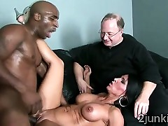 Brunette MILF gets watched by her husband whilst banging a dark thug