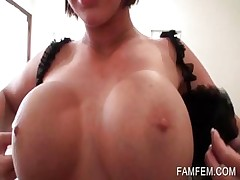 Babe playing with big boobs