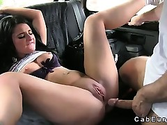 Breasty brunette receives fuck and huge creampie in cab