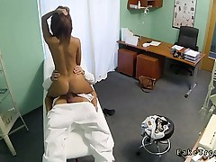 Sexy dark brown cunt licked and banged by doctor