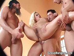 Three hungry cocks feast on one golden-haired and
