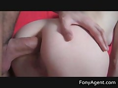 Blonde getting her pussy banged on sofa
