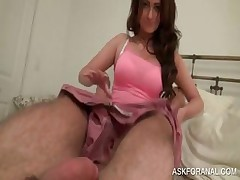 Beauty showing hot booty sucks cock in couch