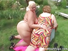 Impure obese women in bikini making out